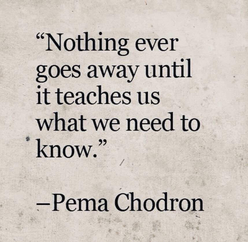 Nothing ever goes away until it teaches us what we need to know. ~ Pema Chodron #Quotes #Motivation