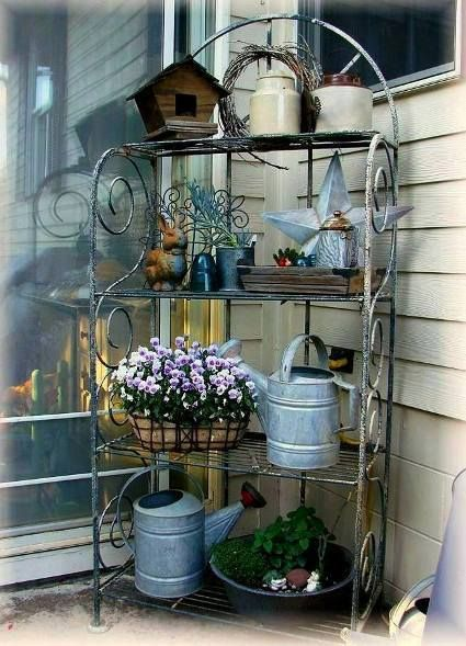 Gorgeous Galvanized In The Garden Outdoor Bakers Rack Bakers