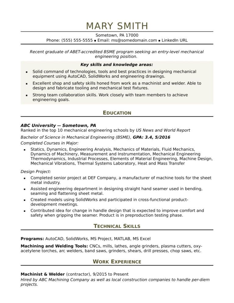 Sample Resume For An Entry Level Mechanical Engineer Regarding Mechanic Job Card Template