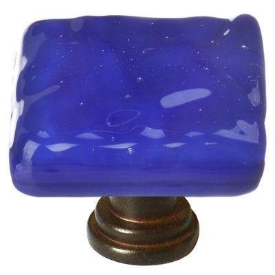 Sietto Glacier Square Knob Base Finish: Oil Rubbed Bronze, Color: Deep Cobalt Blue