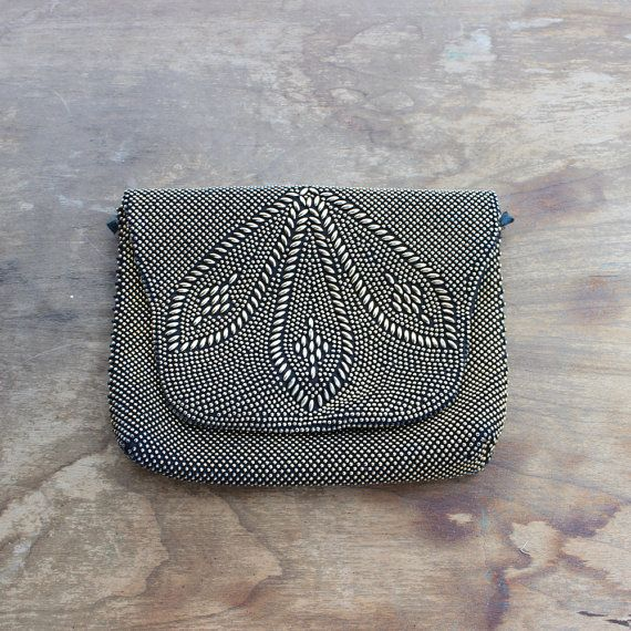 18b1439830c 1960s Vintage Metallic Gold Bead Clutch/ 60s Vintage Metallic Gold ...