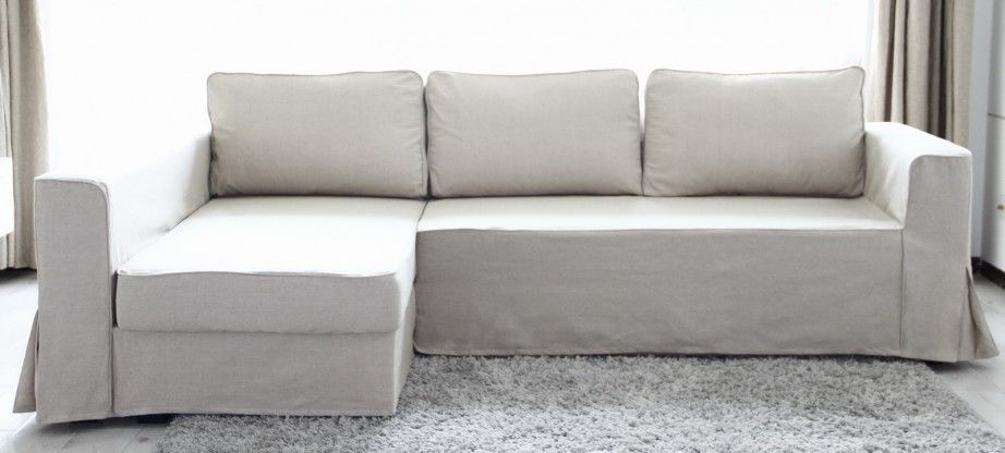 Furniture,Beautiful White Linen L Shape IKEA Sofa Bed