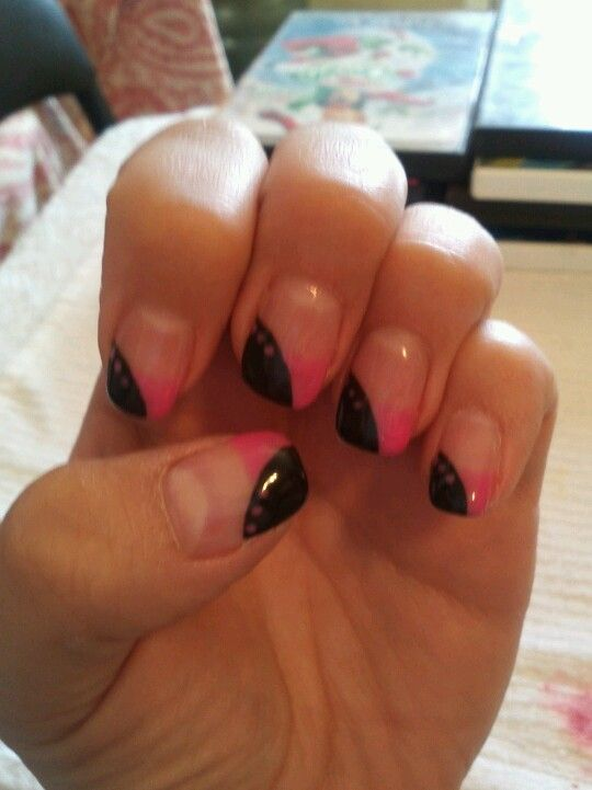 Black and pink nails with pink dots. I would use hot pink
