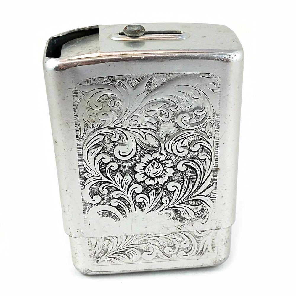 Engraved Cigarette Case Vintage Park Industries Aluminum Floral m137 #ParkIndustries #Floral