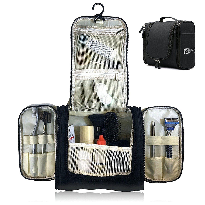 Neceser de Viaje Neceser Maquillaje para Hombre y Mujer Plegable Multifuncional para Viaje Bolsa de Aseo Impermeable para Colgar (Negro)