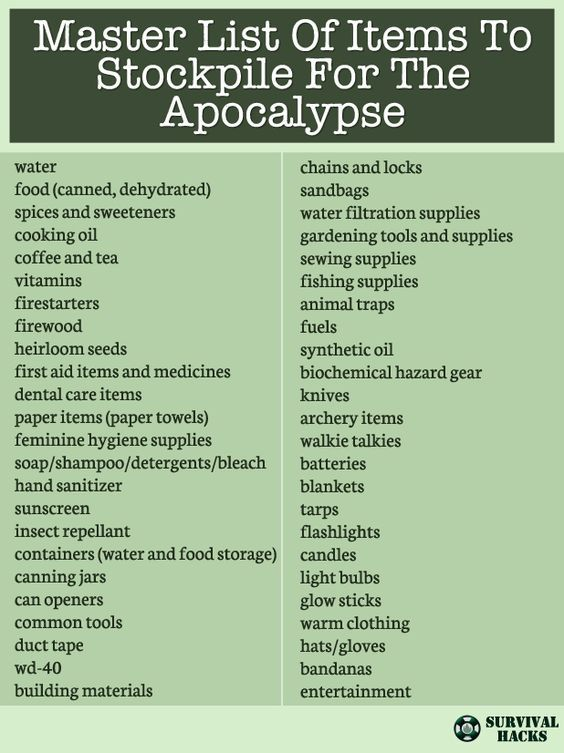 Master List Of Items To Stockpile For The Apocalypse