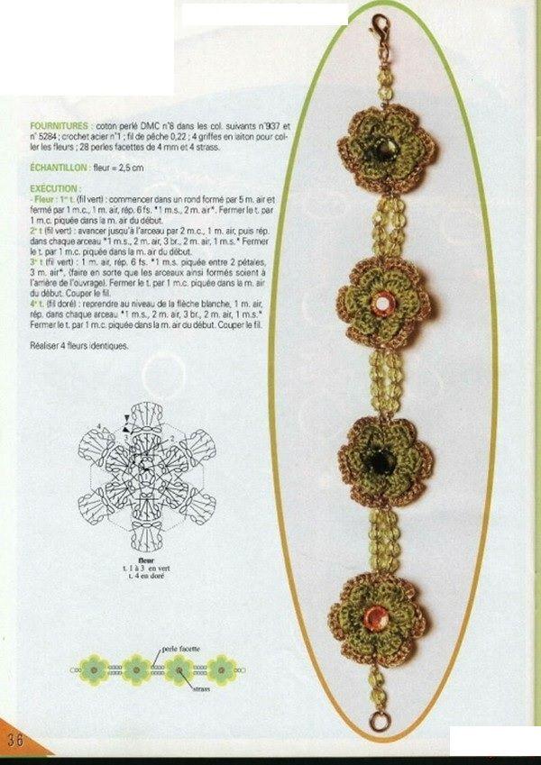 Patrones para Crochet: Patron Crochet Pulsera | COLLARES, ANILLOS ...