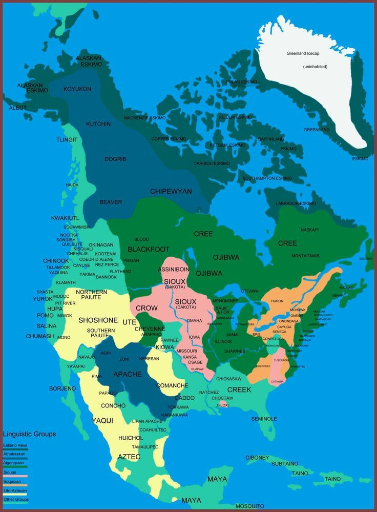 Native Indians Of North America Linguistic Map City