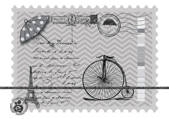 Vintage Stamp Paris Postcard with Umbrella and by UpstairsCats