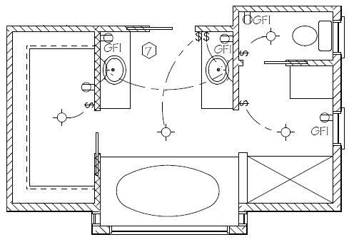 wiring-diagram-bathroom-and-walk-in-closet (Simple perfection) | Bathroom Wiring Plan |  | Pinterest