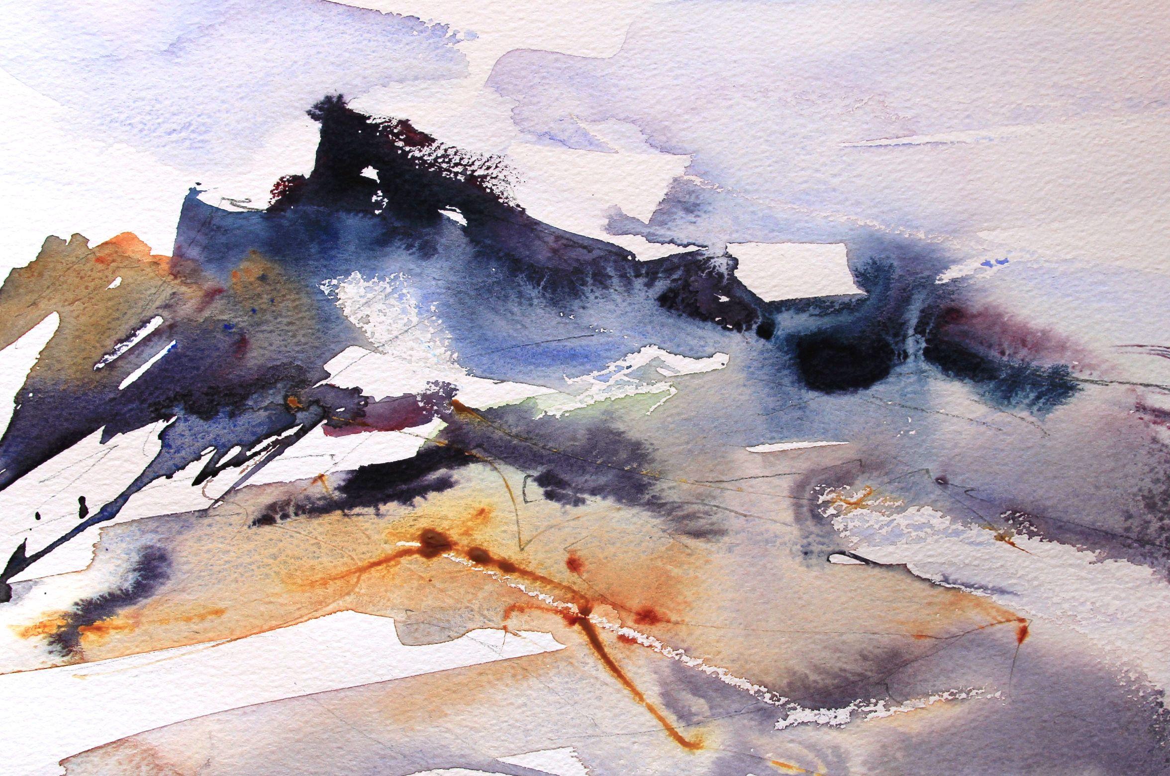 Adrian Homersham Movement Demo Rocks Sea Watercolour
