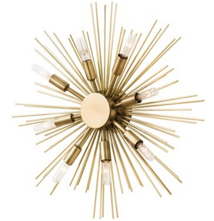Arteriors jiten sunburst sconce ceiling mount antique brass
