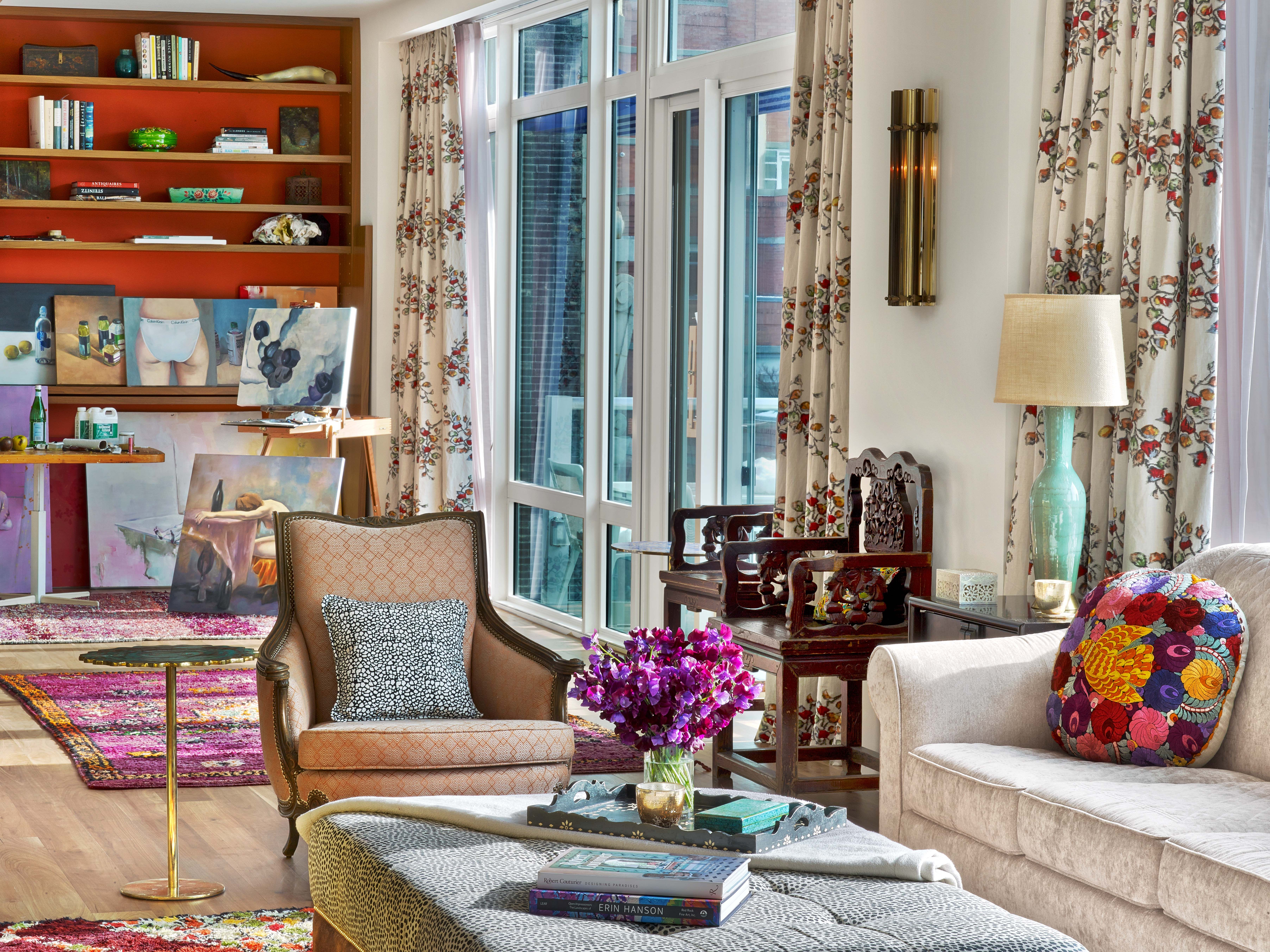 chelsea penthouse- living room - kati curtis design | nyc interior
