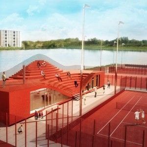 Clubhouse for Tennisclub IJburg with seats on its roof by MVRDV