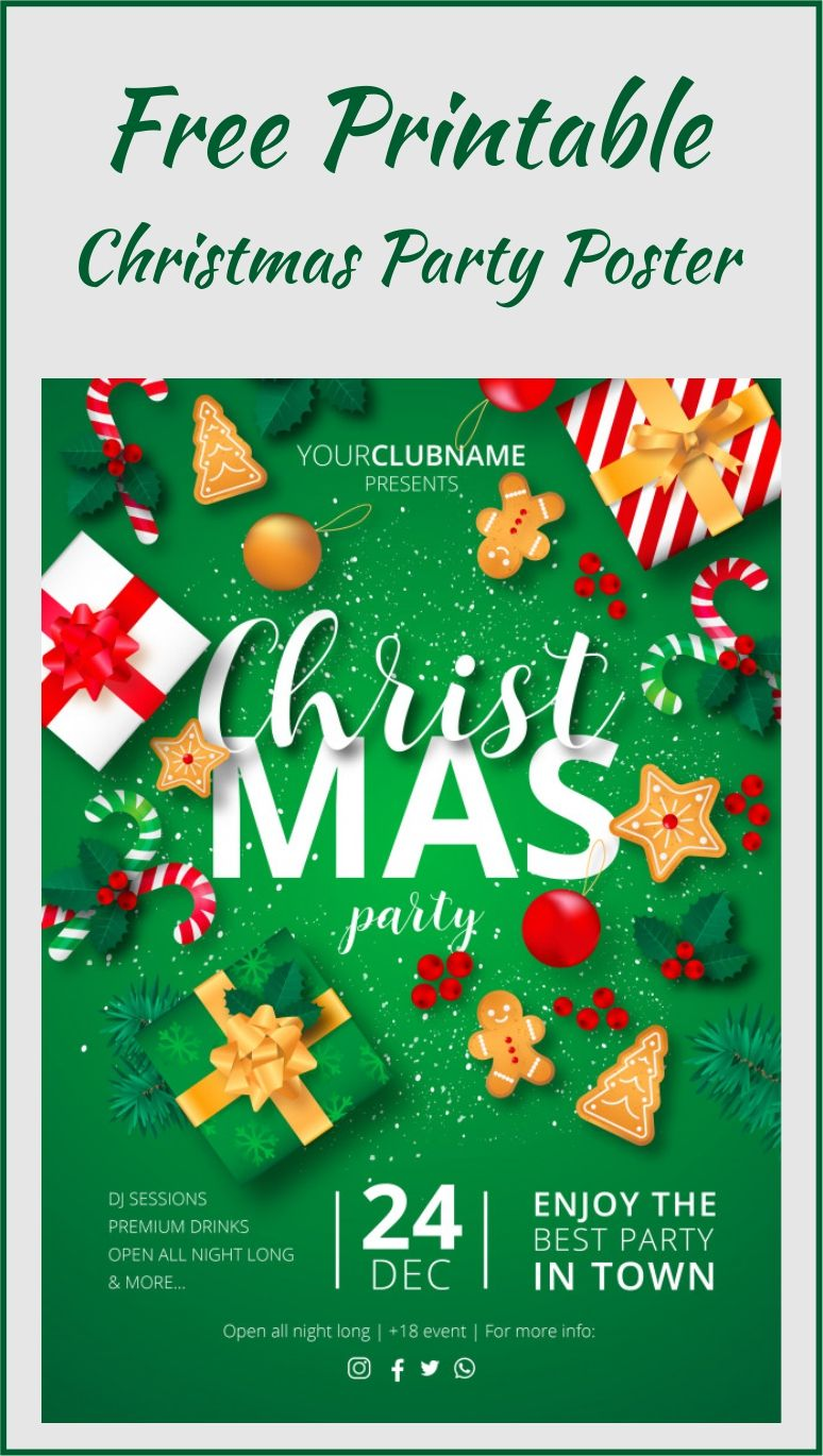 Christmas Party Poster Ready To Print Free Vector Background