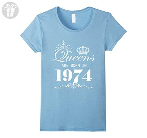 Women's 43rd Birthday Queens Are Born In 1974 T Shirt Small Baby Blue - Birthday shirts (*Amazon Partner-Link)
