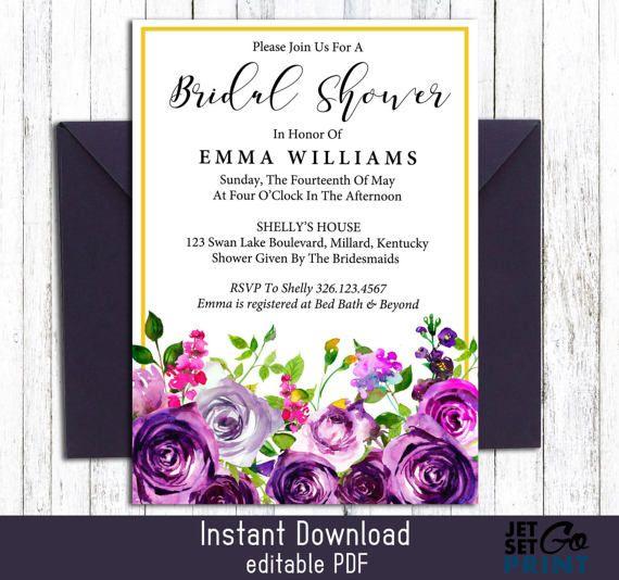 Purple Bridal Shower Invitation Instant Download Template Editable - Purple bridal shower invitations templates