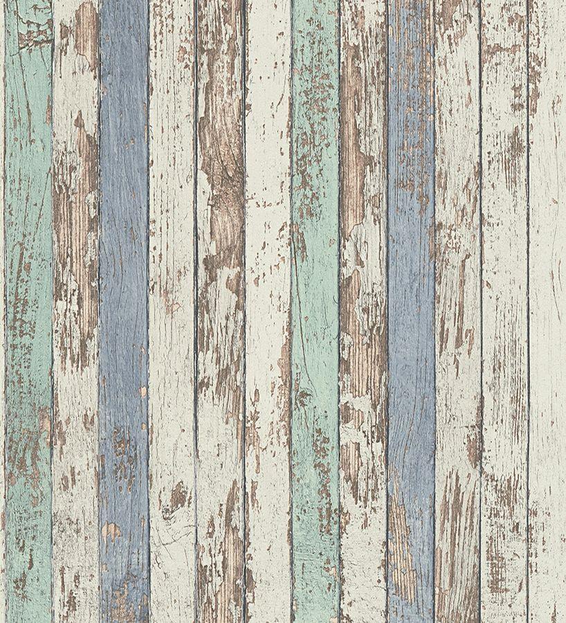 Papel pintado madera decapada vin lico estilo marinero - Papel pared vintage ...