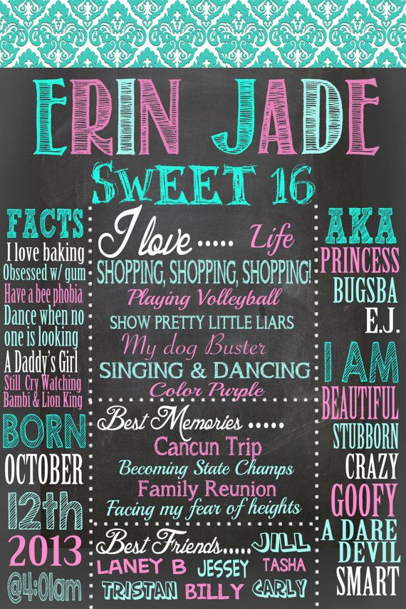 Sweet 16 Birthday Board Poster Custom For Any Age Gender Free 8x10 W Purchase Color Changes C Sweet 16 Birthday Sweet 16 Birthday Party Birthday Poster