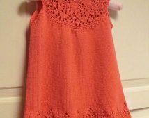 Baby Dress Knitting Pattern with Lace Yoke, Meredith Baby Dress, Instant Pattern PDF