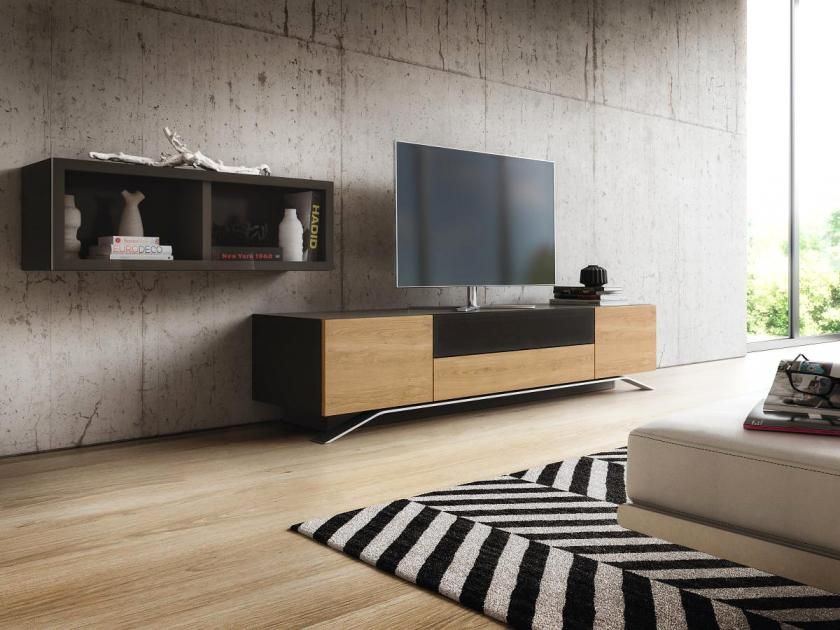 tv m bel aus holz glas in wei oder schwarz sideboard postmoderne von ligne roset. Black Bedroom Furniture Sets. Home Design Ideas