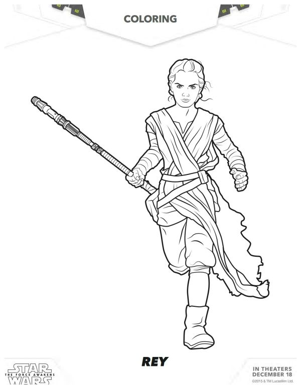 Star Wars The Force Awakens Rey Coloring Page Star Wars