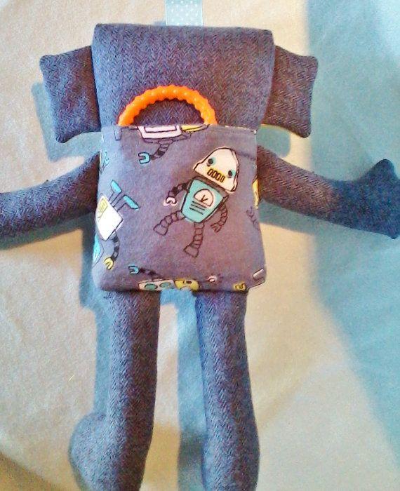 CUTIE-BOT BRADLEY handmade robot 11 inches grey di CraftsbyPetra