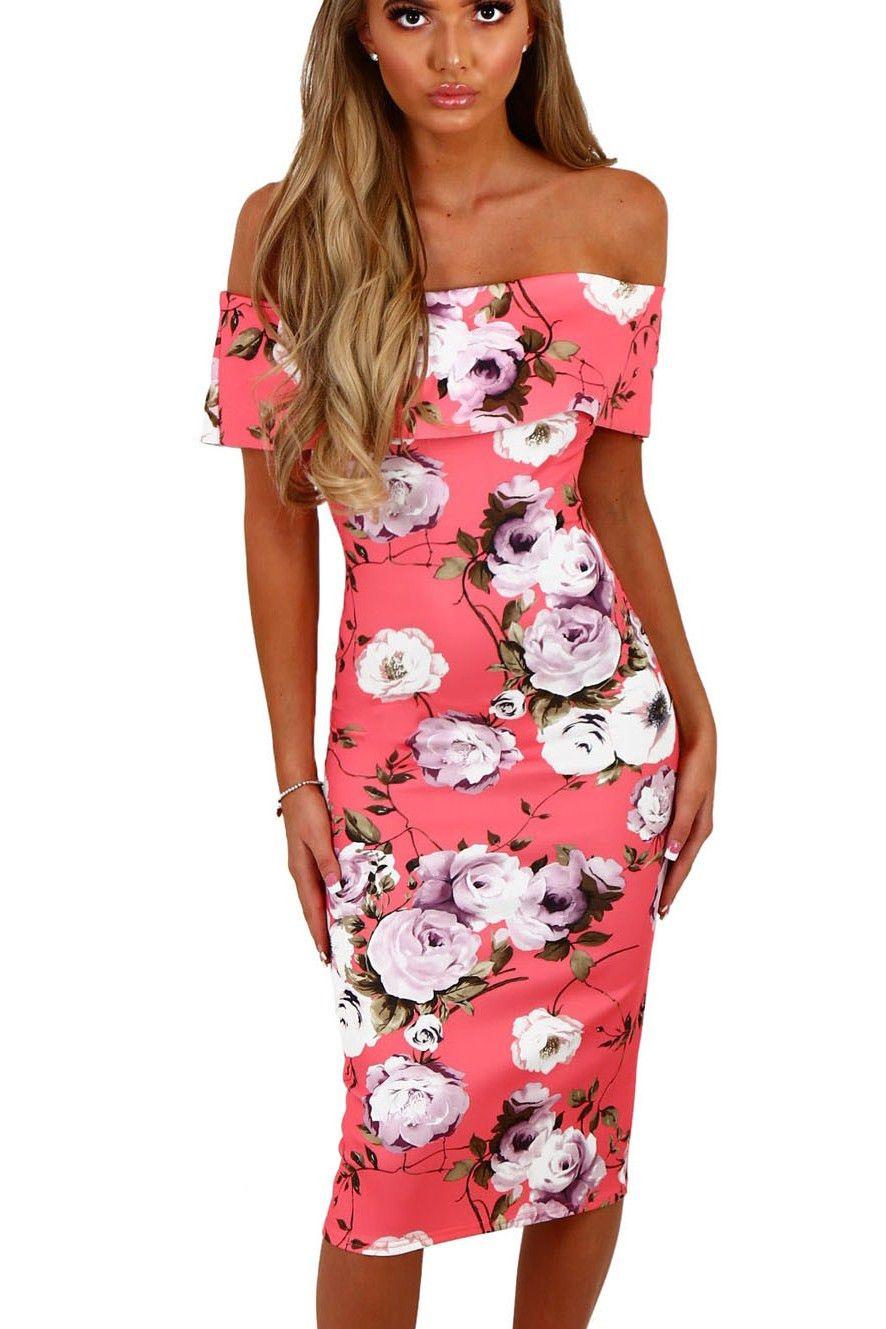 Robe Mi Longue Moulante Fleurie Rose Bardot A Volants Pas Cher www.modebuy.com @Modebuy #Modebuy #Rose #vêtements #femme