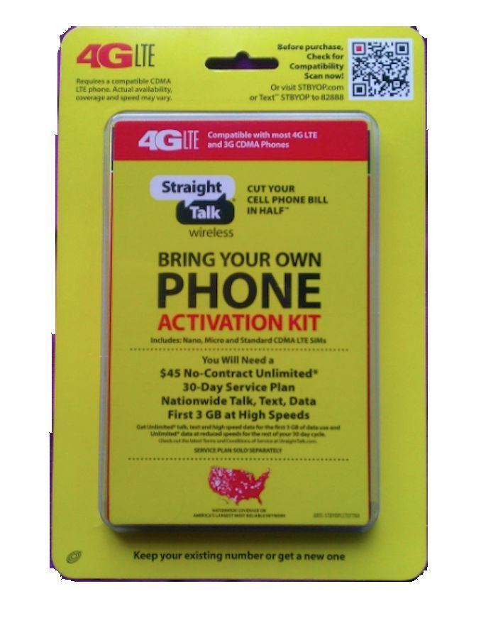 Straight Talk Verizon Sprint Activation Kit Byop Cdma Code Sim Cards Cell Phone Straight Talk Wireless Sim Cards Cell Phone Bill