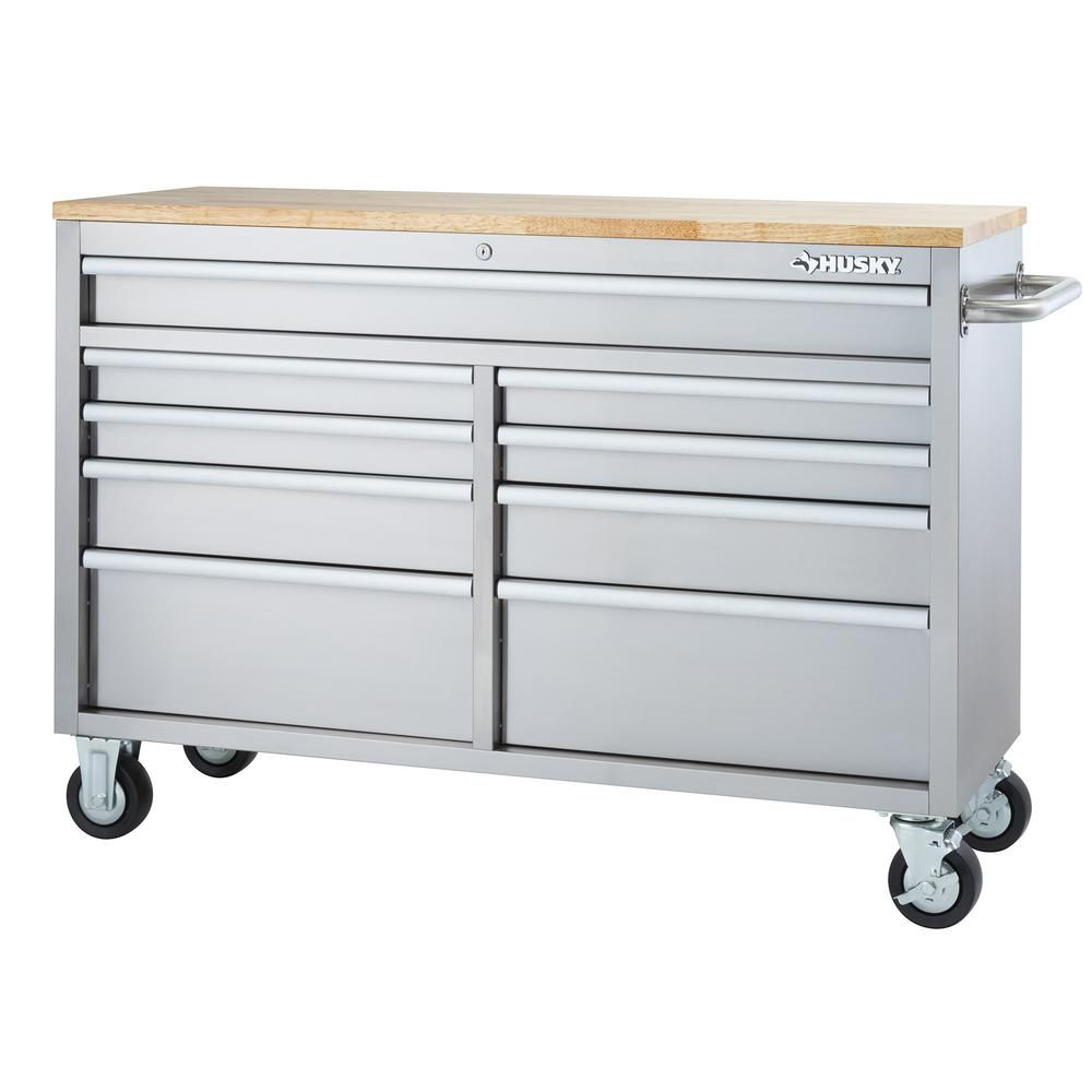 Husky 52 in 9drawer mobile workbench in stainless steel
