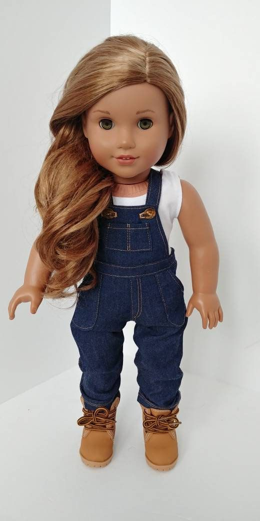 Jean overalls. 18 inch doll clothing. American girl. 18 inch doll clothes .2 piece outfit. Jean overalls and tank top #18inchdollsandclothes