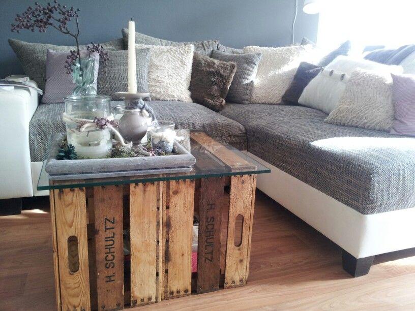 diy tisch aus alten obstkisten einrichtungsideen home. Black Bedroom Furniture Sets. Home Design Ideas