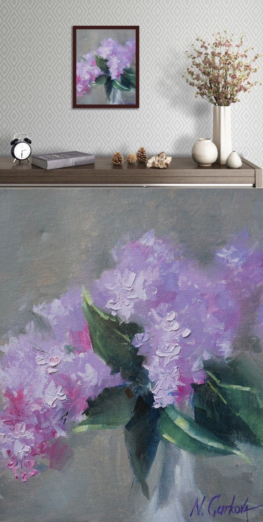 Lilac Flower Original Oil Painting Small Purple Canvas Wall Etsy Lilac Painting Flower Painting Canvas Original Oil Painting