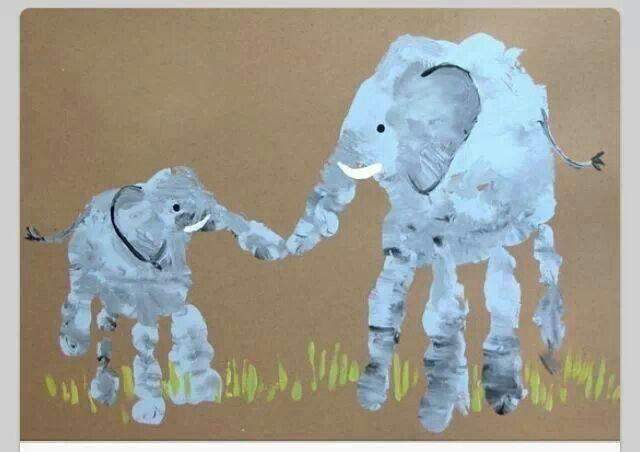 handabdruck elefanten basteln mit kindern. Black Bedroom Furniture Sets. Home Design Ideas