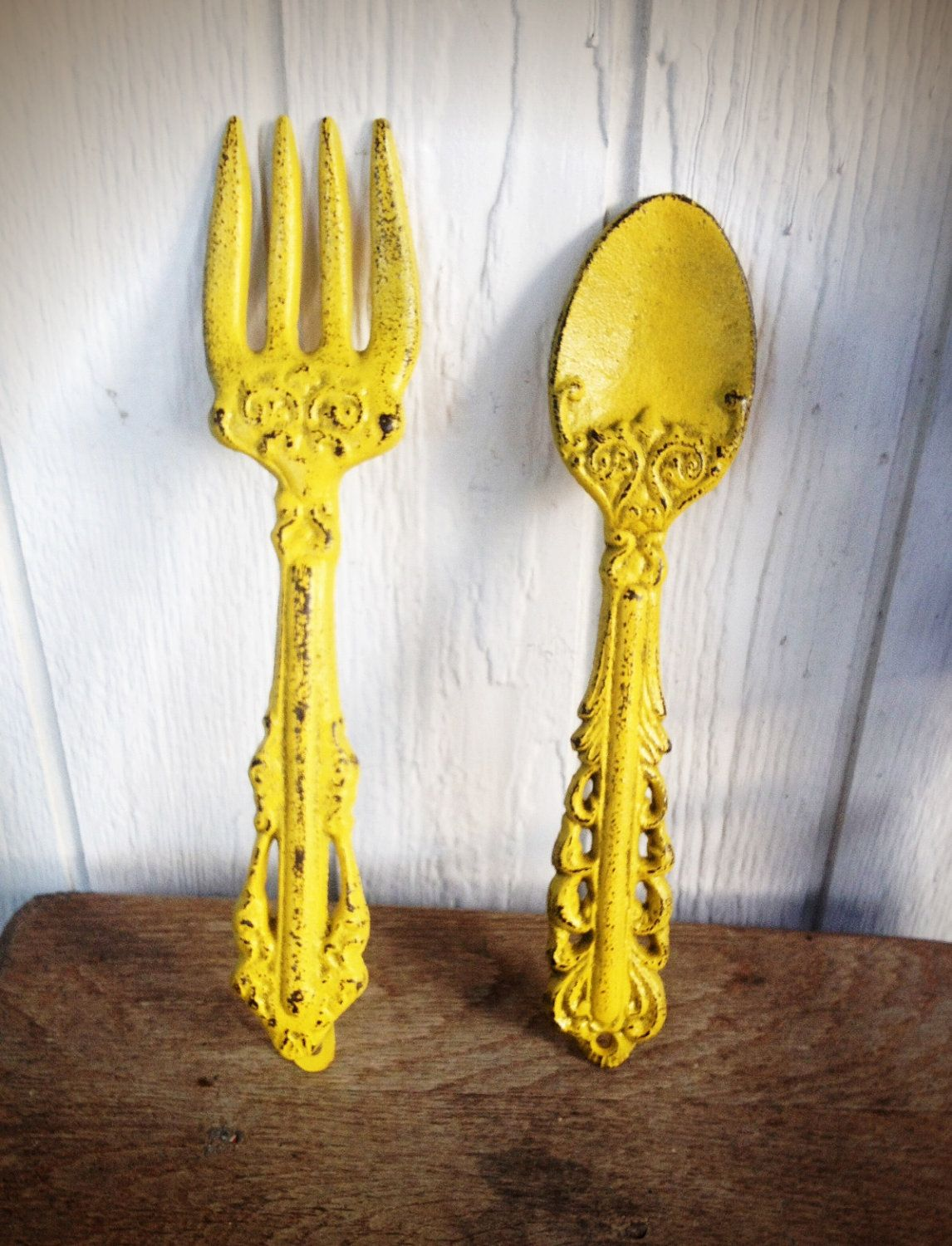 Bold Sunny Canary Yellow Kitchen Wall Decor Ornate Fork And Spoon Art Cottage Country Shabby Chic French Vintage
