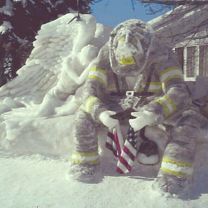 Firefighter snow sculpture