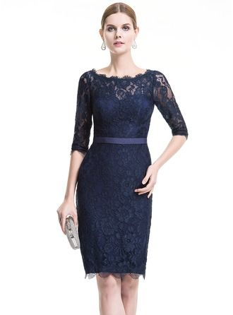 Sheath/Column Scoop Neck Knee-Length Lace Cocktail Dress | Ideas ...