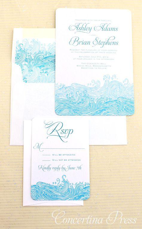 DIY Printable WAVES Modern Invitation Suite Template Pdf Design Beach Wedding Destination Nautical Digital Lace Rustic Seaside Coral Digital