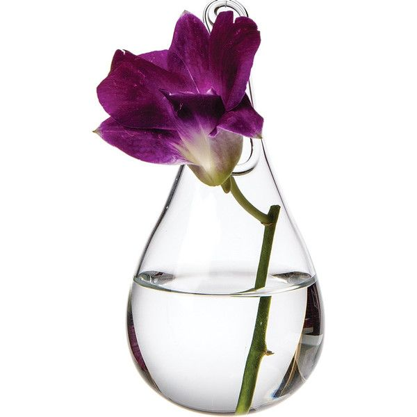 Small Hanging Glass Teardrop Vase Crystal Clear Hand Blown Vases