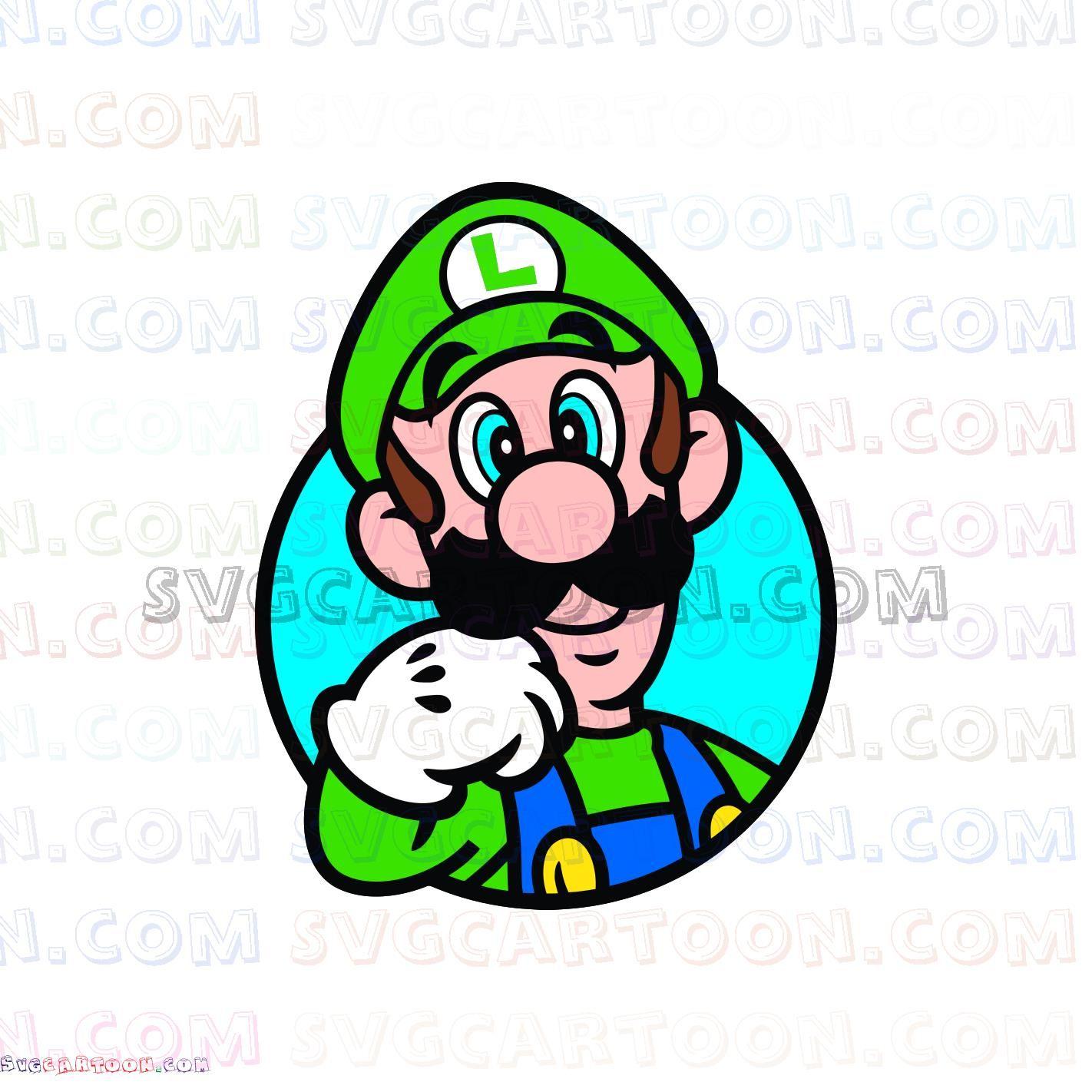 Luigi Through a Circle Super Mario svg dxf eps pdf png