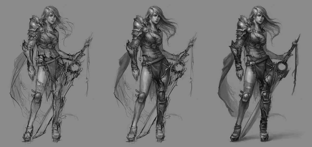 Character Concept Art From Grayscale to Full Color Illustration