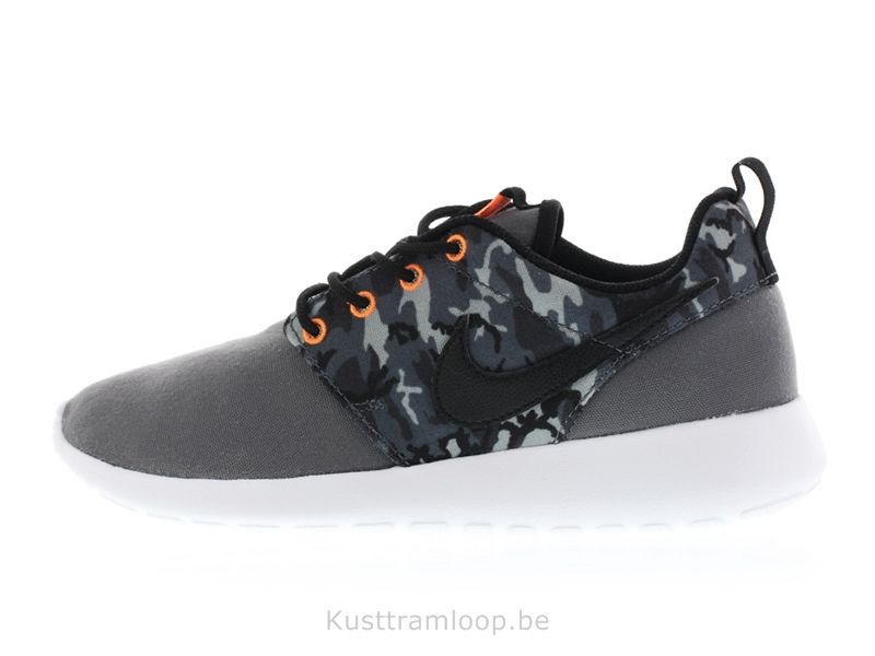 Nike Roshe Run Imprimer GS Gris foncé / Noir-Frais Grey-Anthracite Nike Air