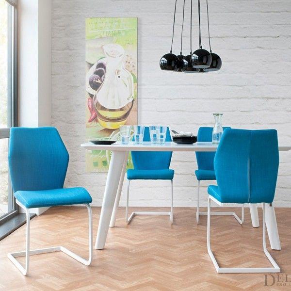 Blaue-Küchestühle-Esszimmer-Möbel-modern-Zahur-weißer-esstisch - alma küchen essen