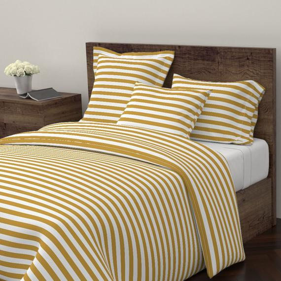 Gold Stripe Duvet Cover The New Nautical Stripe By Booboo Collective Mustard Yellow Cotton Satee Striped Duvet Striped Duvet Covers Guest Room Bed