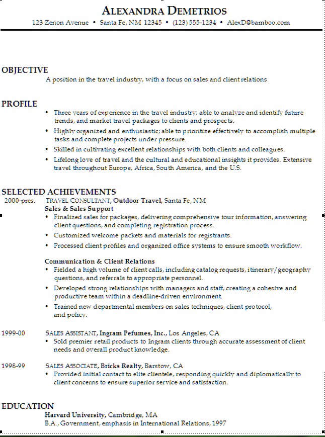 Example Of Travel Industry Resume  HttpExampleresumecvOrg