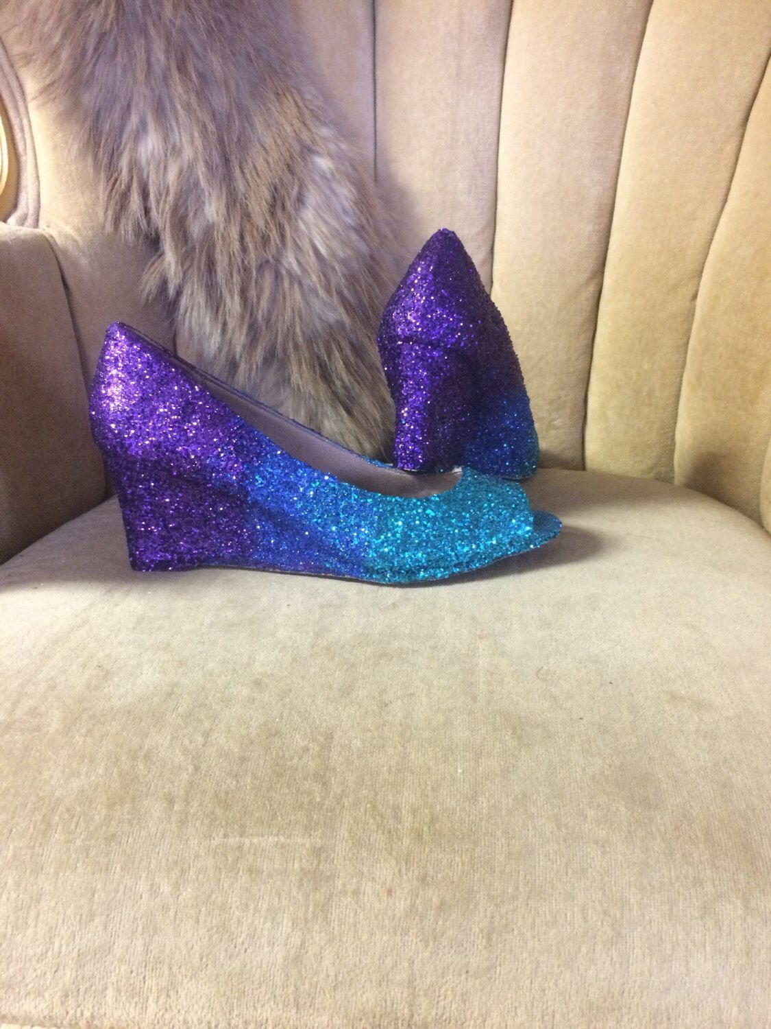 bcb567900df4 Glitter wedge high heels. Ombre purple
