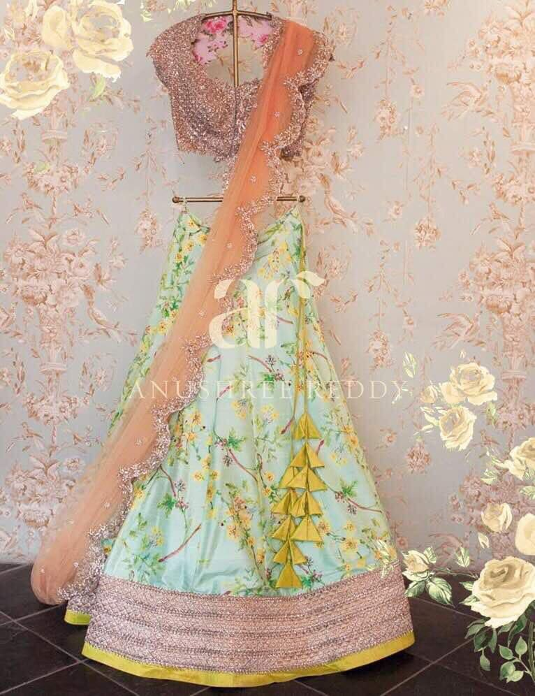 This summer romance fills the air with pretty yellow flowers paired with pastel tones.  To place an order for this  AR outfit  please send an email to teamanushreereddy@gmail.com