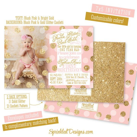 First Birthday Girl Invitation Photo Card by SprinkledDesign – One Year Old Party Invitations