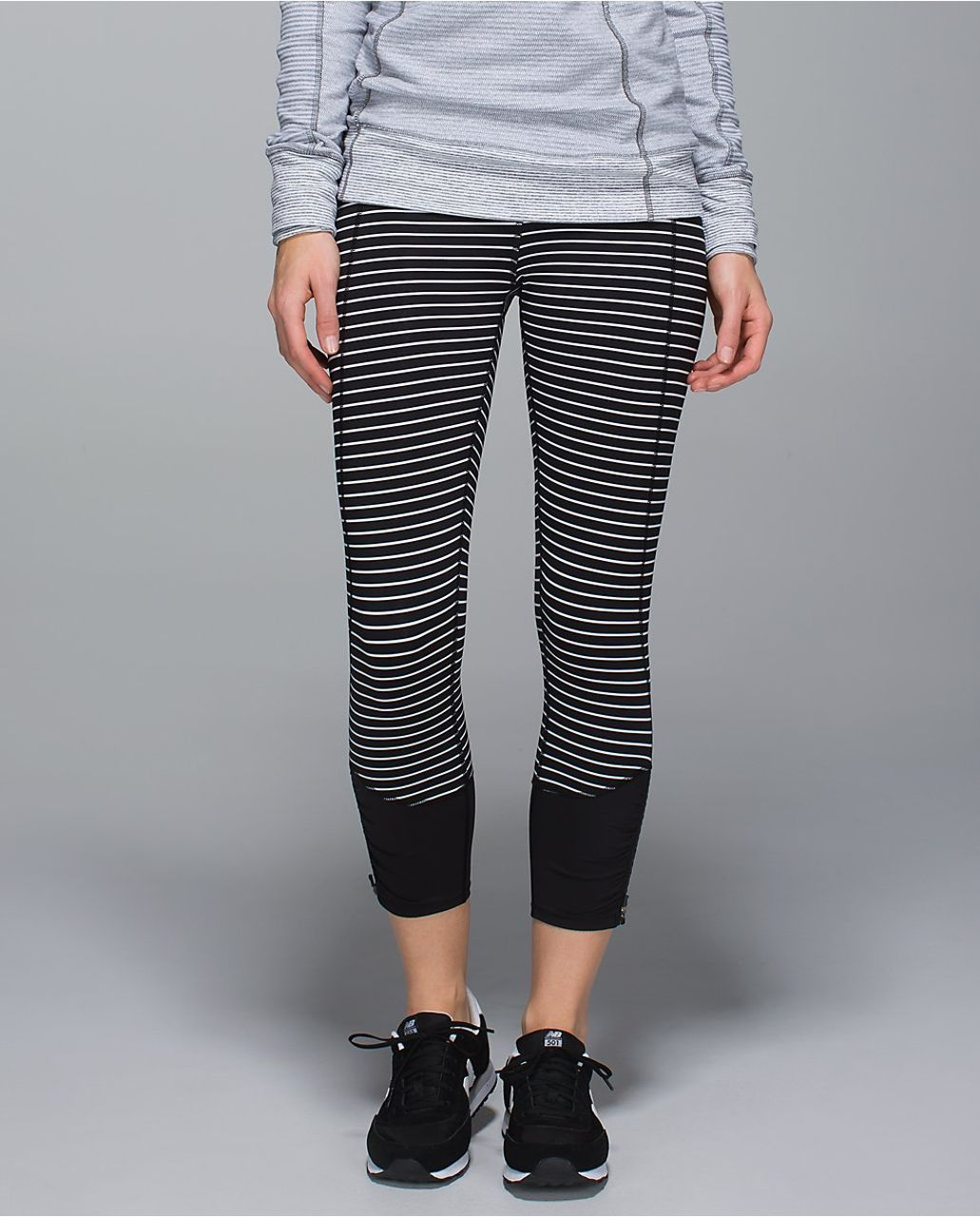 9402ea4f55a00a Image result for Lululemon black white striped crop leggings zipper at ankle