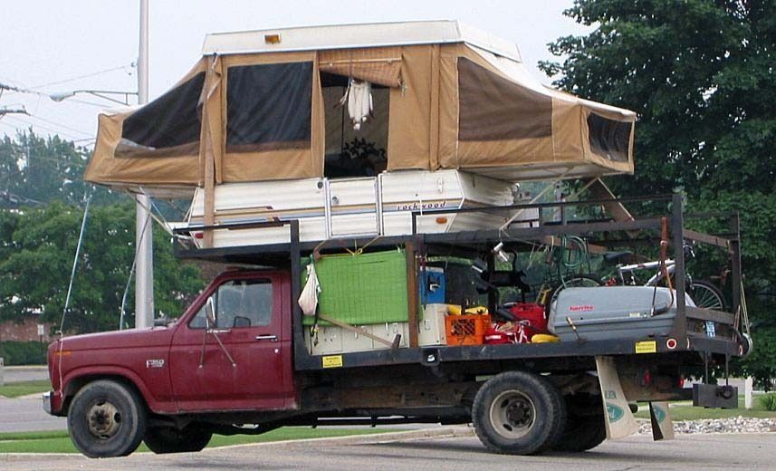 The Bi Level Camper Good Thing The Front Sleeper Is Tied Down Pop Up Truck Campers Homemade Camper Truck Camper
